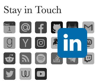 Hover over LinkedIn in the Sidebar